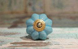 Flower Shape Porcelain Door Knobs - Blue